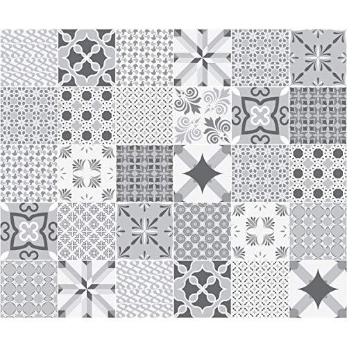 Ambiance-Live Adhesivos para Azulejos de Pared, diseño de Azulejos, Nuance de Gris Romantique, 15 x 15 cm